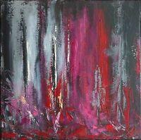 """PEINTURE, art contemporain paysage TABLEAU abstrait signé HZEN """"MARS"""" 40x40 cm"""