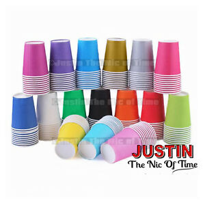Paper CUPS (9oz) Plain Solid Colours Birthday Party Catering Tableware