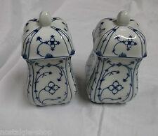 Königl. Pr. Tettau Porcelaine Walter Design Bleu Indien Boîtes 2 Pièces