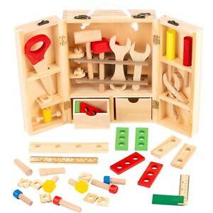 Werkzeugkoffer für Kinder Holz Werkzeugkasten KP0744 Werkzeugkoffer 38 Zubehör