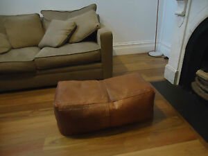 Large Rectangle Moroccan Leather Ottoman Pouffe Pouf Footstool Coffee Table Tan