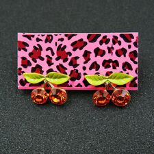 Ear Stud Earrings Betsey Johnson Red Enamel Crystal Cherry Charm