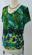 Onque Casuals Shirt Embellish slinky Knit Jersey Ruched Top blouse SZ PL NEW