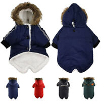 Pet Dog Clothes Waterproof Winter Warm Padded Coats Puppy Fur Hooded Jackets UK