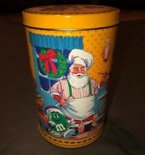 VINTAGE M&M's CANDY CAN 1994 CHRISTMAS HOLIDAY CONTAINER TIN Yellow