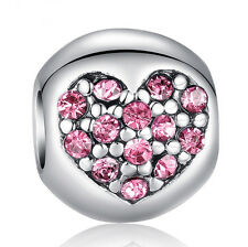 Pink European Silver CZ Charm Beads Fit sterling 925 Necklace Bracelet Chain
