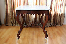 Fabulous Victorian Empire Gothic Flame Mahogany Marble Top Center Table Ca.1850