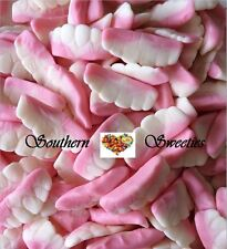 1KG CANDY TEETH PINK & WHITE LOLLIES GUMMIES HALLOWEEN CANDY 450ct approx bulk