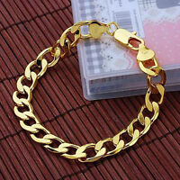 Men/Women Bracelet 18K Yellow Gold Filled Charms Link 8 inch Curb Chain