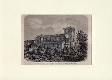 Antique matted print monastery Leça do Balio Porto Portugal 1861 woodcut