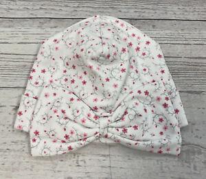 Kissy Kissy  Silver Stems Pink Flower Print 100% Pima Cotton Hat Size Small NWT