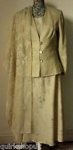GINA BACCONI gold jacket top, skirt SUIT & shawl with VIYELLA BELT 12 40 NEW