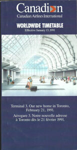 Canadian Airlines International system timetable 1/13/91 [1062] Buy 4+ save 25%