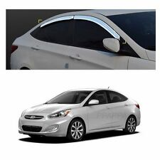 Sun Chrome Side Window Visor Vent Guards Rain for Hyundai Accent 2012-2017