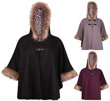 Womens Plus Size Cape Poncho Buckle Faux Fur Wool Fleece Ladies Jacket Coat Hood