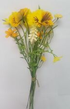 ARTIFICIAL FLOWERS PANSY WILD FLOWER SMALL BUNCH 32CM LONG 6 STEMS YELLOW