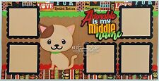 Elite4U Premade Scrapbook Page Die Cut Paper Piece Pet Cat Boy Girl BLJgraves 38