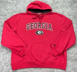Georgia Bulldogs Hoodie Sweatshirt Men Extra Large Red White Cotton Blend