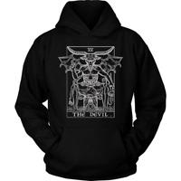 The Devil Tarot Card Hoodie Baphomet Gothic Satanic Witch Halloween Sweatshirt