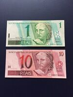 Brazil Reais 1,2,10 & 20 Denomination Bank Notes. Ideal For Collection