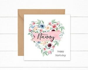 Special Nanny Birthday Card ANY AGE Pink Blue Heart Floral