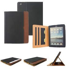 2017 iPad 10.5 Black & Tan Leather Wallet Stand Flip Case Smart Cover Card Slot