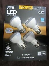 4 PACK LED R20 Feit Electric DIMMABLE Light Bulbs 7.3W=45W FLOOD