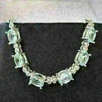 Sparkling Oval Aquamarine Bracelet Women Wedding Jewelry 14K White Gold Plated