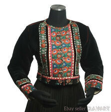 ETHNIC JACKET Slovak folk costume black velvet red floral ribbon trim KROJ cool!