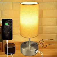 Touch Control Bedside Lamp,Hansang 3-Way Dimmable Table Lamp with Dual USB