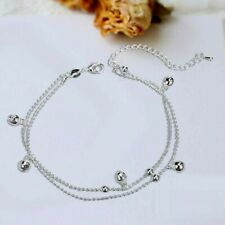 Bracelet Double Chain Anklet A41 Bells Charm Silver Sp Foot Ankle
