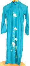 Handmade Original Blue Green Floral Pattern Vietnamese Traditional Ao Dai Dress
