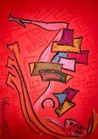 ORIGINAL Malerei PAINTING abstract abstrakt erotic EROTIK akt nu nude art A3 sür