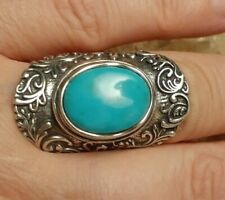 Or Paz Sterling Silver Turquoise Knuckle to Knuckle Ring 7 Signed PZ Israel