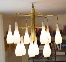 Italian Mid Century brass chandelier lamp 1950's 1960's  Murano 12 Glass Cones