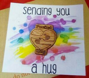 Pocket Hug Token support NHS Virtual Hug on Card Rainbow Heart Sending you a Hug
