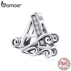 Authentic 925 Sterling Silver Flower 26 Letter Charm&CZ For Friendship Bracelets