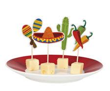 Lot de 12 mini sticks pique bois cure dent cocktail decoration Mexique Espagnol