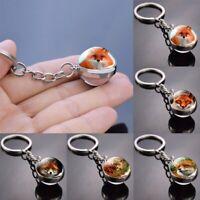 Cute Fox Aminal Glass Ball Personality Pendant Keychain Jewelry Men Women Gift