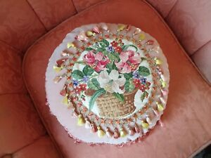 Victorian Antique needlework  tapestry  cushion  pillow