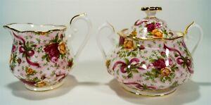 Royal Albert Old Country Roses OCR Pink Chintz 10oz Creamer & Lidded Sugar