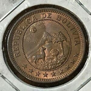 1951 BOLIVIA ONE BOLIVIANO BRILLIANT UNCIRCULATED COIN