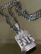 """Mens 14k White Gold Filled Miami Link Chain 24"""" Everybody Eats Pendant Warranty"""