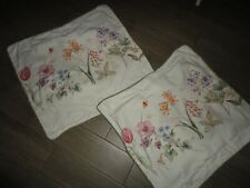 WAVERLY BOTANICAL PASTORAL BUTTERFLY BLUE PINK FLORAL (2) STANDARD PILLOW SHAMS