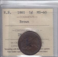 1861 New Brunswick One Cent - ICCS MS-60 Brown