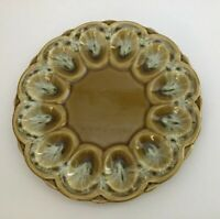 Stunning Vintage California Pottery Deviled Egg Plate Serving Tray Tan Olive