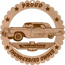 1960 Ford Thunderbird Hardtop Wood Ornament Large 5 3/4 Inches Round