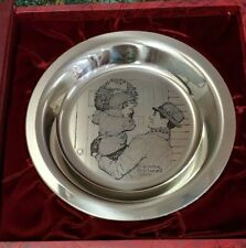 "1974 Sterling Silver Norman Rockwell ""Hanging The Wreath"" Franklin Mint Plate"