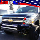 For Chevy Silverado 1500 2007-2013 Black Steel Overlay Grilles 2pc Mesh Rivets