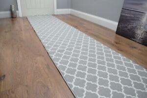 New Grey Trellis Long Hallway Stairs Runner Non Slip Kitchen Washable Mat Rug UK
